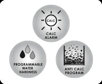 3-in-1 bescherming tegen kalkaanslag met ontkalkingsindicator
